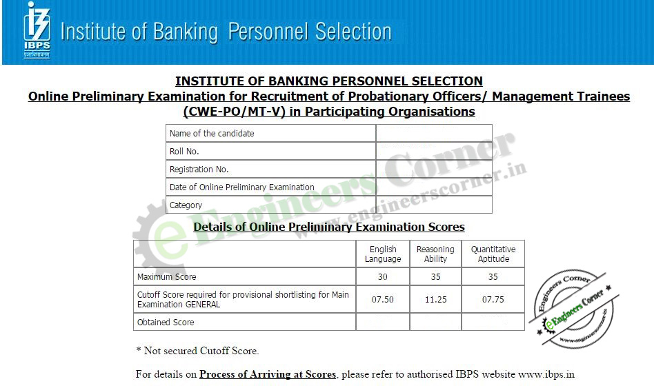 check score card for ibps cwe po mt v 2015 16 prelims exam result