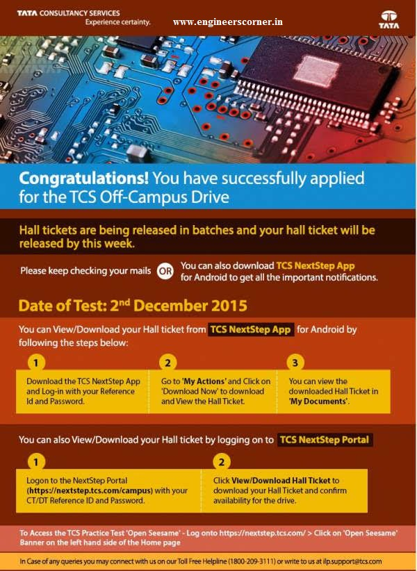 Download Link: TCS Off-Campus Recruitment Hall Ticket / Admit Card