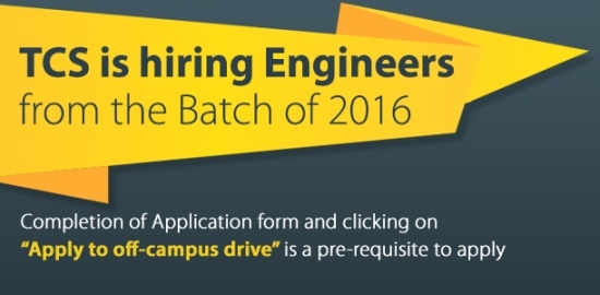 tcs hiring b tech engineers 2016 batch off campus recruitment